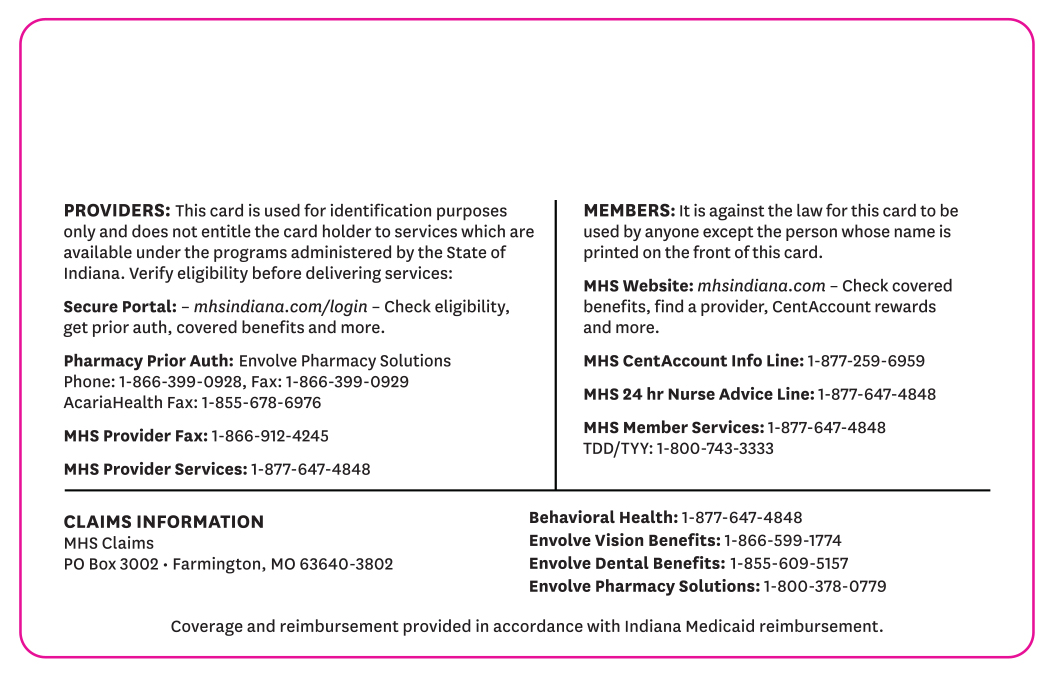 Hoosier Care Connect back card