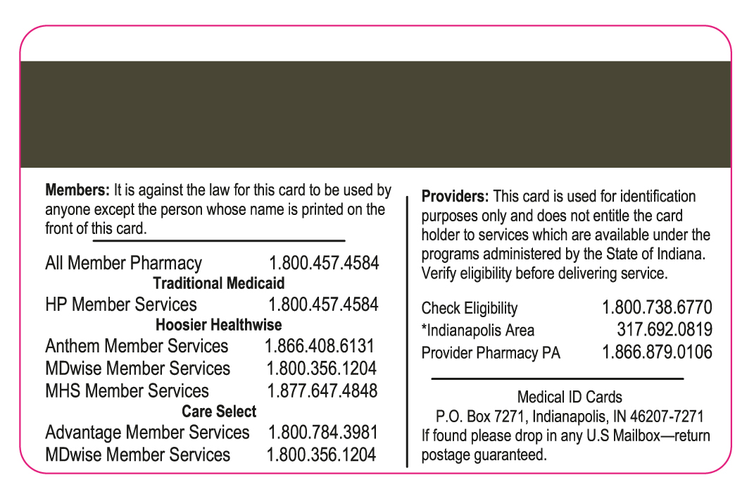 front of Hoosier Healthwise card